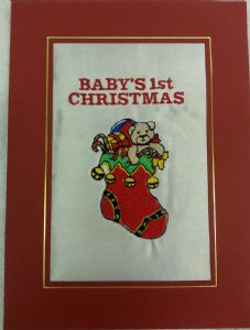 PERSONALISED TEDDY IN STOCKING CHRISTMAS CARD